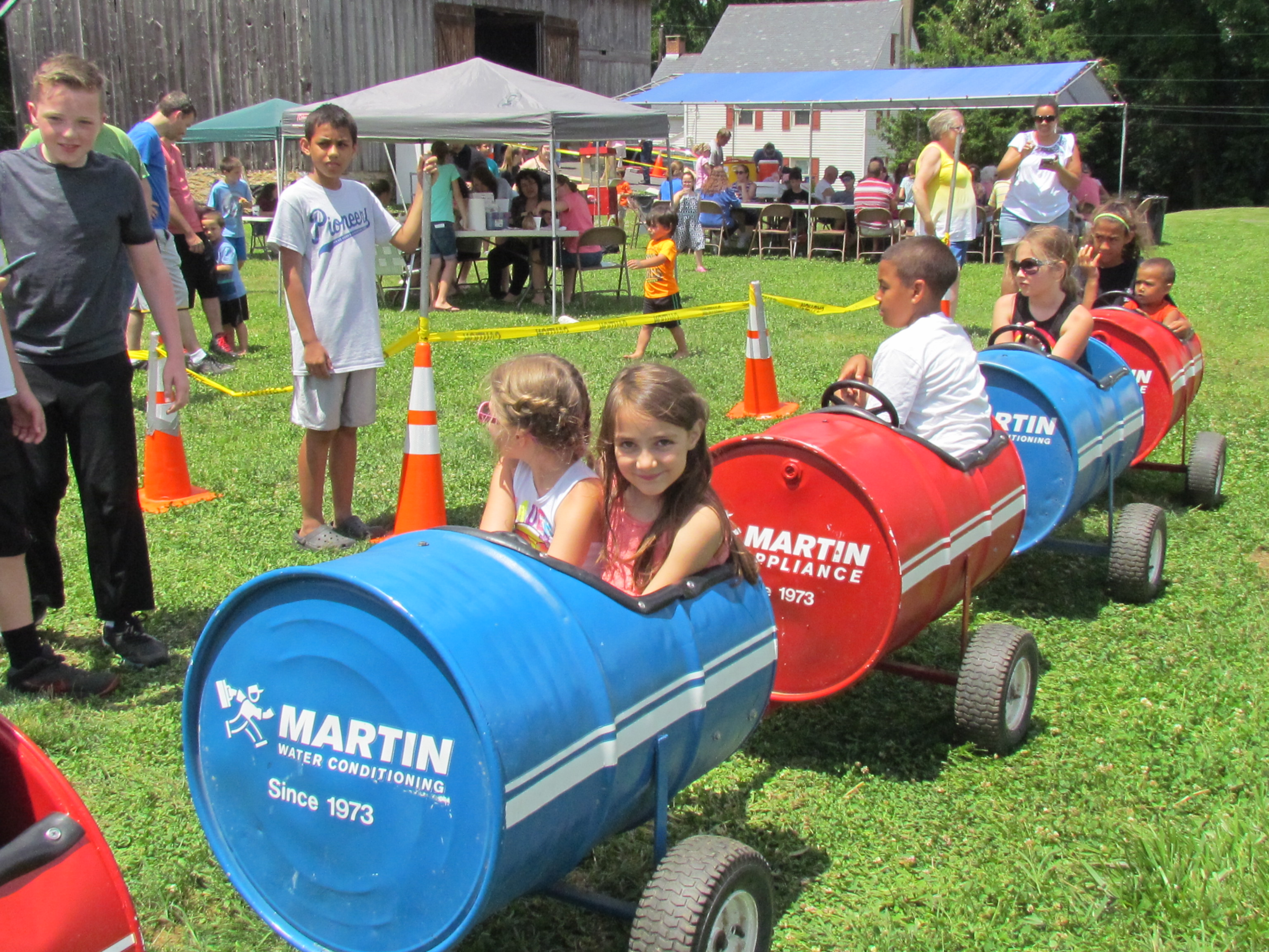 The barrel train was a huge hit with the kids.